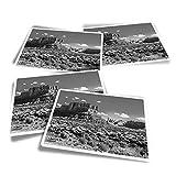 Pegatinas rectangulares de vinilo (juego de 4) – BW – Rock Canyon Sierra Nevada España divertidos adhesivos para portátiles, tabletas, equipaje, reserva de chatarra #36942