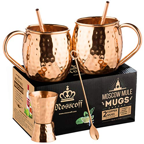 Moscow Mule Copper Mugs Set of 2 – Moscow Mule Gift Set for 7th Aniversary Wedding. Copper Jigger, Twisted Copper Straws, Copper bar Spoon Come with 2x16 oz Copper Mugs. Complete Moscow Mule kit.