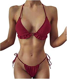 Women Plus Size Two Piece Swimsuit, Ladies Solid Sexy Bikini Set Beachwear Padded Bra Swimwear