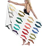Colección de lápices labiales Impresión de la boca In4 Colores Set Ilustraciones vectoriales 100% poliéster toalla de playa silla gruesa suave