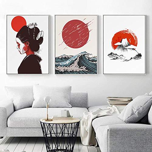 IGNIUBI Póster de Arte japonés Ukiyoe, impresión en Lienzo, Kyoto, Japón, Antigua Capital, Pintura de Geisha, Cuadro Decorativo para Pared de Sala de Estar, 50X70cmx3 20x28x3 Pulgadas, sin Marco
