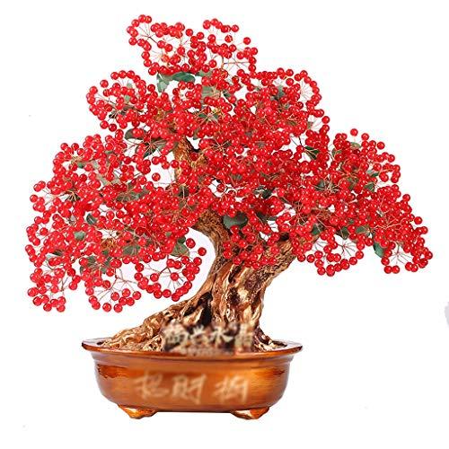 Ornamento de Escritorio Tree Premium cristalino grande rubí del árbol del dinero de Feng Shui del ornamento de la vida de Casa de los regalos de las ilustraciones de la riqueza estreno de una casa (ro