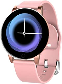 """Bouncefit Vector 2 Round Smartwatch (Pink) [iOS/Android Compatible, IP67 Water Resistant, White Silicone Strap, 1.3"""" OLED ..."""