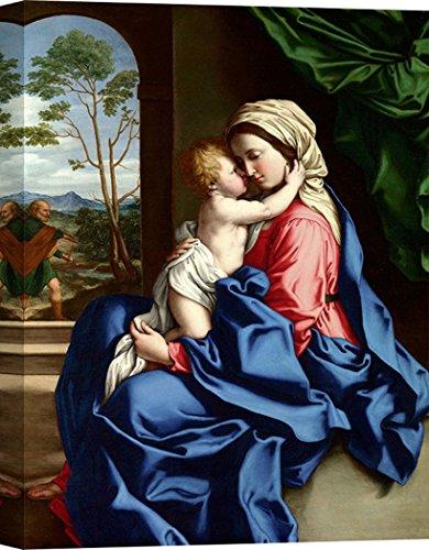 Art Print Cafe - Cuadro - Impresion sobre Lienzo - Sassoferrato, La Virgen y el Niño Abrazar - 80x60 cm