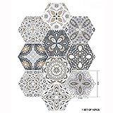 Ancoree 3D Style de Céramique Artistique Créative Carrelage Hexagonal Autocollant Salle de Bain Cuisine Maison Plancher...