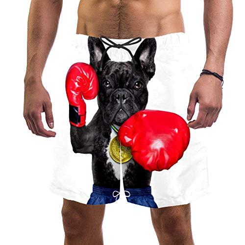 Eslifey Herren Strand-Shorts Französische Bulldogge als Box-Trainer mit Boxhandschuhen, Badehose, elastischer Badeanzug, Boardshorts für Herren, L Gr. S 7-9, multi
