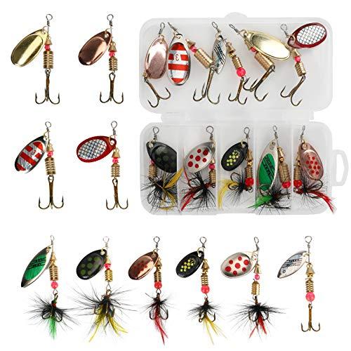Maxjaa Leurres de pêche, 5 pièces leurres de pêche en métal émulatoires avec boîte de Rangement, cuillères à Paillettes de Spin Appâts de pêche durs pour Perche d'eau Douce Carpe Truite
