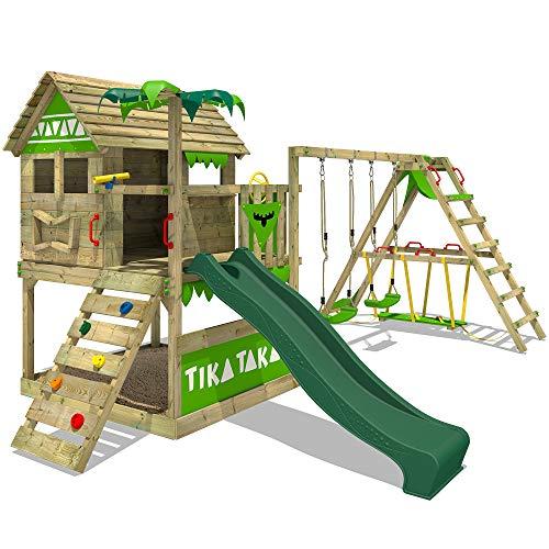 FATMOOSE Spielturm TikaTaka Town XXL Kletterturm mit Surf-Anbau, Rutsche und viel Spiel-Zubehör, grüne Rutsche