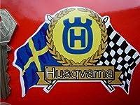 Husqvarna Flag & Scroll Sticker ハスクバーナ ステッカー シール デカール バイク 95mm x 65mm [並行輸入品]