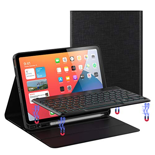 Keyboard Case for iPad Air 4 10.9 inch iPad Pro 11 inch Illuminated QWERTZ Layout Keyboard Touchpad, Removable Screen Shutdown with Protective Case for iPad Air 4 10.9, iPad Pro 11 inch (Black)