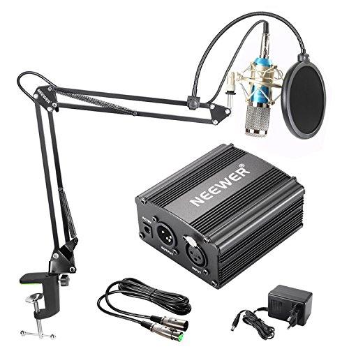 Neewer Microfono a Condensatore NW-800 Argento, Alimentazione 48V Phantom NW-35 Stand per Microfono con Supporto Anti-vibrazione, Filtro Pop & Cavo XLR Maschio a Femmina per Registrazioni