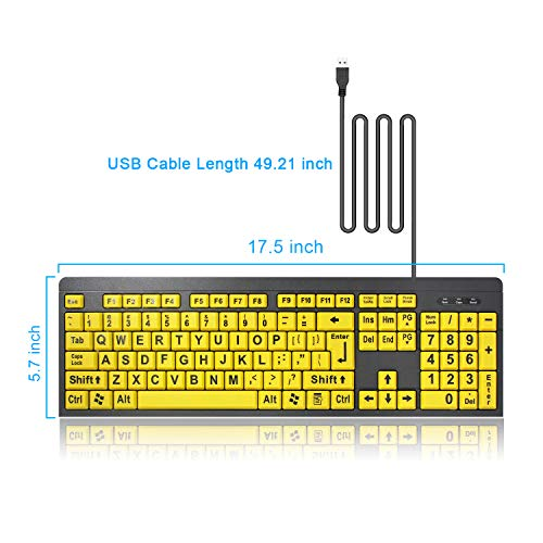Tanix Large Print Computer Keyboard with Yellow Keys and Black Letters, Wired USB Keyboards for Visually Impaired Low Vision Individuals