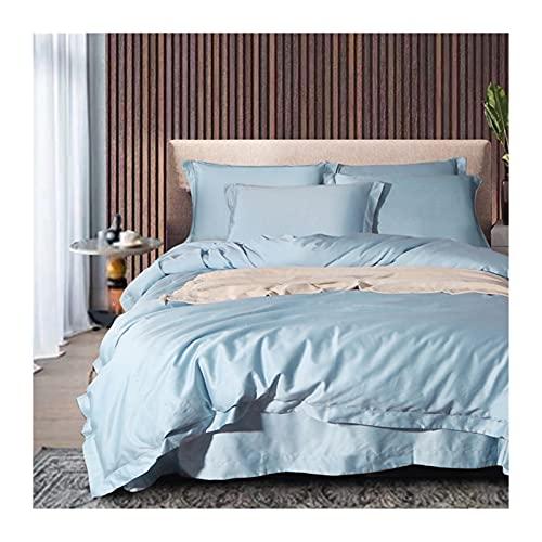 Lyxval Satin Sängkläder Set 4-delat 220x240/200x230cm-påslakan 150/180x200cm-dra-på-lakan 48x74cmx2- örngott 100S dubbelsträngad bomull siden påslakanset (Color : Blue C, Size : 220x240-180x200cm)