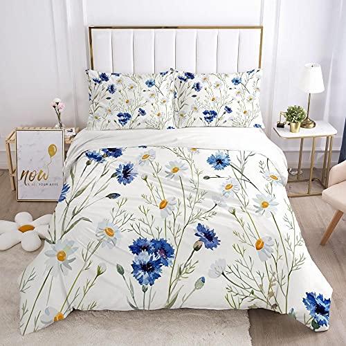 QDoodePoyerFunda Nordica Algodon 100% - Juego de Funda de Edredón Planta Azul Flor estampadopara Cama 200x200cm con 2 Fundas de Almohada 50x75cm - Muy Suave Transpirable