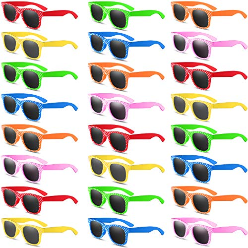 Kids Sunglasses in Bulk, 24Pack Sunglasses for Kids, Boys and Girls Party Favors, Neon Sunglasses with UV 400 Protected for Summer Beach Pool Party Toys, Birthday & Graduation Party Supplies