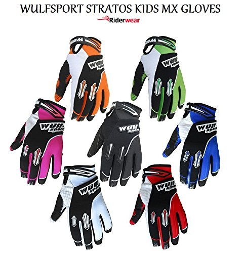 Wulf Sport Stratos Junior Motocross Quad Pit Bike Off Road Enduro Kinder MX Handschuhe in Schwarz, Blau, Grün, Orange, Pink, Rot, Weiß (Grün, XS)