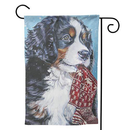 MINIOZE Weihnachtsstrumpf mit Berner Sennenhund, groß, groß, Jumbo-Party-Fahne mit Themenmotiv, für den Außenbereich, als Dekoration für Garten, Hof, doppelseitig, 32,5 x 45,7 cm