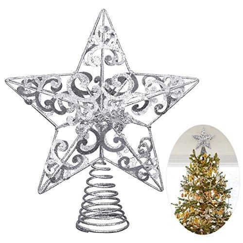 Unomor - Puntale per albero di Natale con stella, in metallo con glitter argentati; 20,3 cm; adatto per decorare alberi di Natale di dimensioni standard.