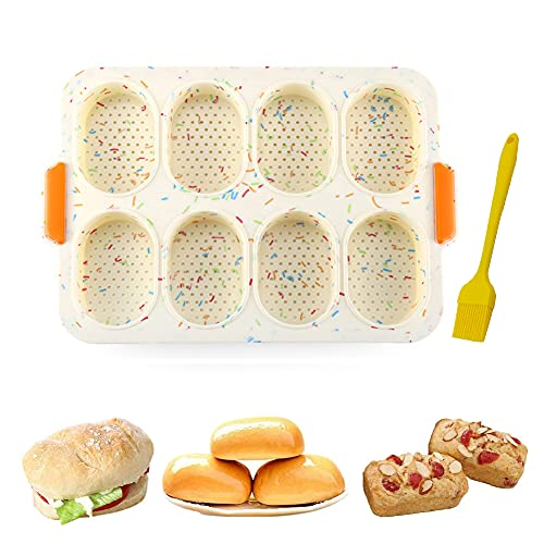 8 Cavidades Mini Baguette Hornear Bandeja,Bandeja de Horno Mini Baguette Molde de Pan para Francés Pan Pan Palos y Pan Rollos