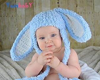 1dd2cc28045 Blue Floppy Ear Bunny Hats for Baby or Kids Fluffy Bunny Rabbit Ears Beanie