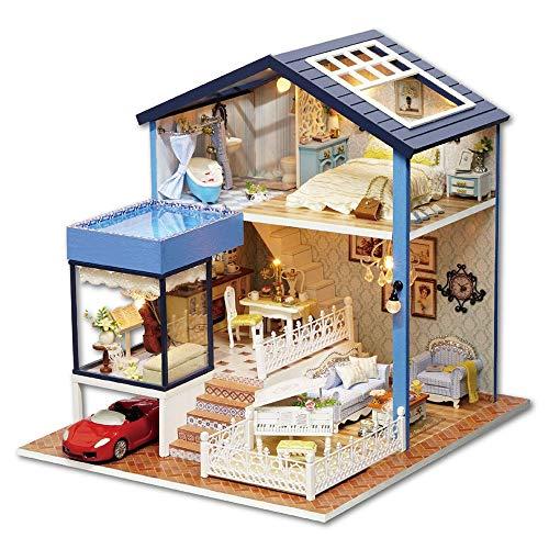 LERDBT Puppenstuben DIY Miniatur-Raum mit LED-Baukasten-Holz Modellbau Set-Mini House Crafts beständiger gegen Staub (Color : Yellow Sports car, Size : 24x27.27.2cm)