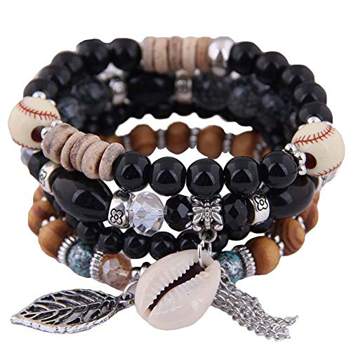 XQxiqi689sy Bracelet Bangle Bohemian Mujeres Cowrie Shell hoja encanto Candy Beaded Elastic Wristlet Wristband Circlet 4pcs/set negro