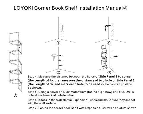 LOYOKI Wall Mount Decor Space Saving Corner Shelves Bookcase White Finish