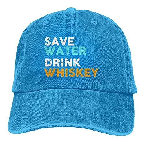 Gymini Save-Water-Trink-Whiskey-Hüte, Baumwolle, waschbar, verstellbar, für Herren und Damen, Blau
