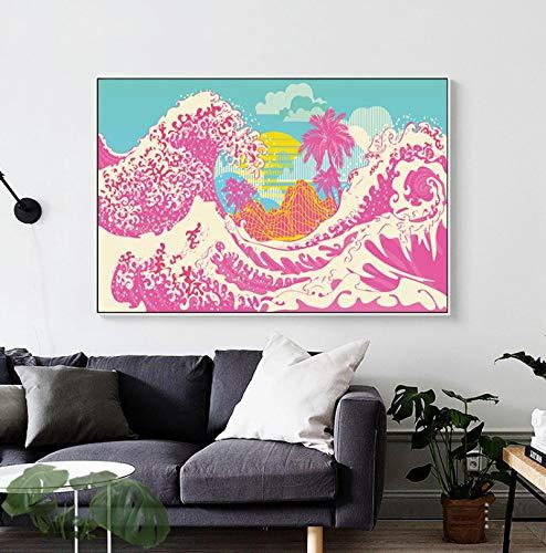 caoyuanbao Póster E Impresiones En Lienzo Gran Ola De Kanagawa Japón Cuadro De Arte De Pared Decoración Pintura Sin Marco (50X70Cm) C146