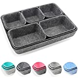 Newthinking Felt Drawer Organizer Tray, 8 Pack Shallow Desk Drawer Organizer, Save Desk Space Dividers Box for Office Gadgets and Jewelry Storage (Dark Gray)