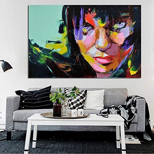 wZUN Hermoso Retrato de Personaje Arte de la Pared glamorosa Dama Pintura al óleo Gente Abstracta Pintura al óleo sobre Lienzo decoración del hogar 60X90 Sin Marco
