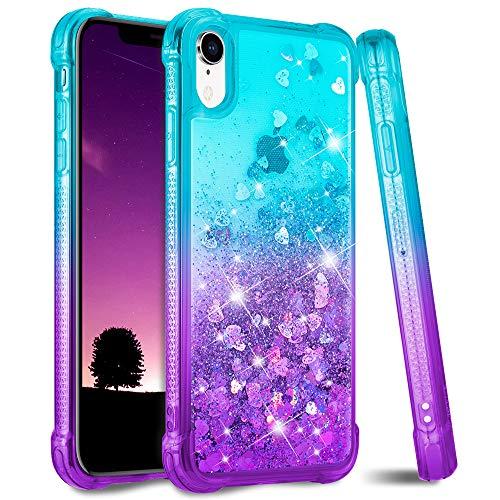 Ruky iPhone XR Case, iPhone XR Glitter Case, Gradient Quicksand Series TPU Bumper Cushion Reinforced Corners Protective Bling Liquid Girls Women Case for iPhone XR 6.1 inches (Aqua Purple)