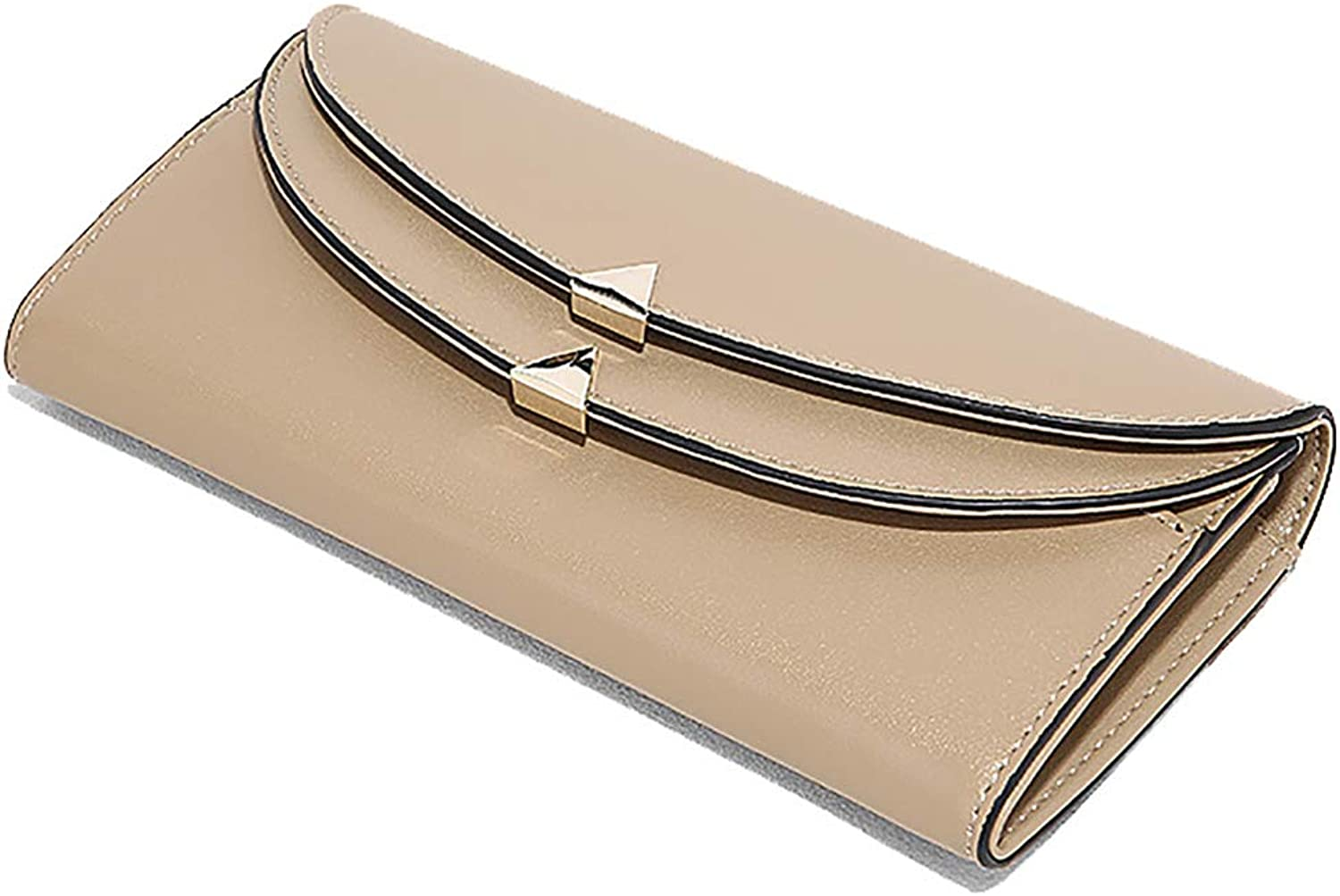Wallet Female New Fashion Long Leather Clutch Bag Wallet (color   Light Brown, Size   14  9  3cm)