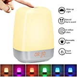 Wake up Light Alarm Clock with Sunrise Simulation Alarm Clock with 5 Nature Sound, Touch Control, Bedside Night Light with 3 Brightness Levels, 256 Color RGB Mode for Bedroom, Christmas Gift