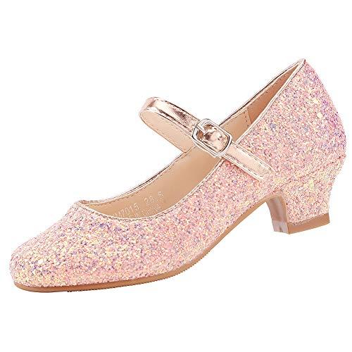 EIGHT KM EKM7015 Mädchen Mary Jane Low Heel Glitter Abendkleid Pumps Schuhe Pink 4 UK Kleinkind