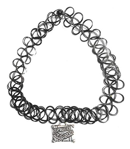 Travel Themed Tattoo Charm Choker Stretch Necklace Black Retro Henna Vintage Elastic Boho (Suitcase)