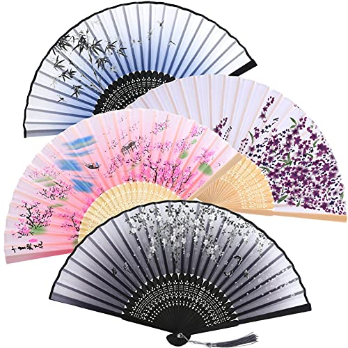 Aoliandatong 4 abanicos de mano con asas, abanicos plegables de mano, ventilador chino, para danza, fiesta, boda, regalos, bricolaje, decoración del hogar