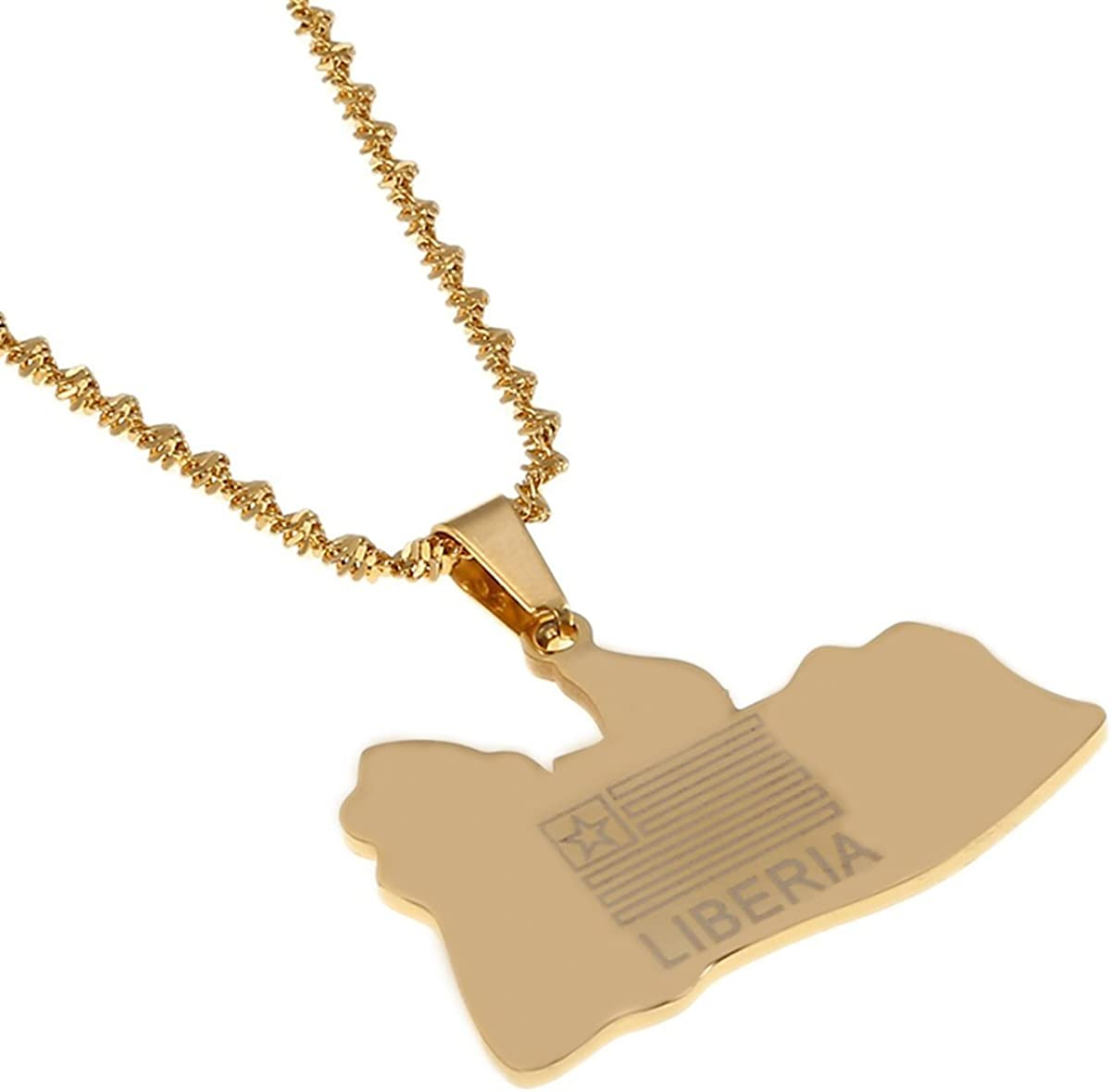 Liberia Map Flag Gold Color Charms Pendant Necklaces Liberians Jewellery