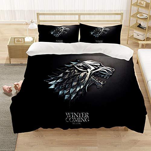 DDONVG Game of Thrones - Biancheria da letto in microfibra, 135 x 200 cm, con copripiumino e federa, stampa digitale 3D, 200 x 200 cm