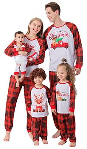 URMOSTIN Pigiama di Natale Famiglia Coordinati 2 Pezzi Indumenti da Notte Camicia Stampata Alce Natale con Pantaloni Scozzesi Rossi Set di Natale Abiti da Notte per Donna Uomo Ragazzo Ragazza Bebè