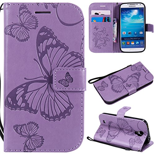 Luckyandery Galaxy S4 Case Card holder, PU leather Shockproof Folio Flip Wallet Case (Built-in Credit Card/ID Card Slot) for Samsung Galaxy S4 9500,Purple