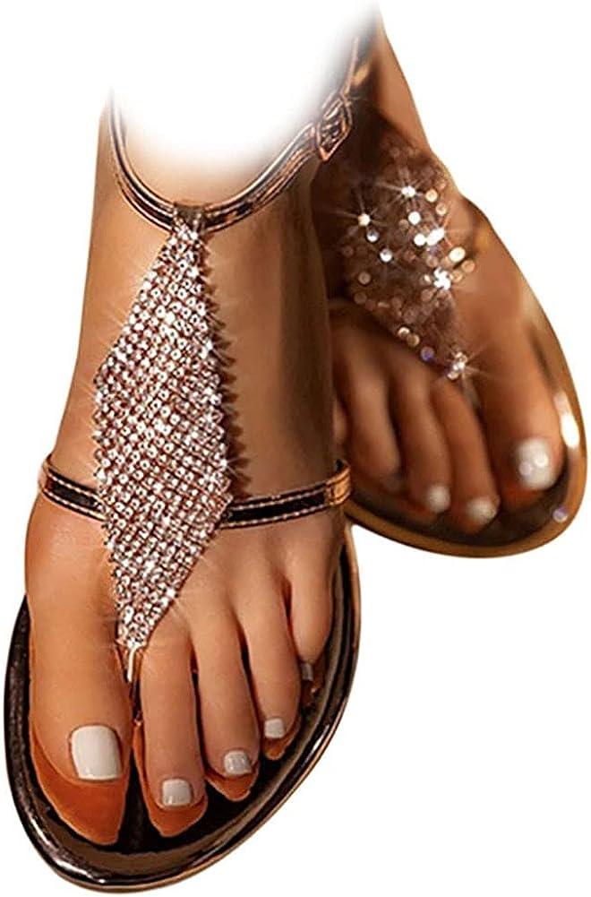 RIBETRINI Womens Flat Sandals Comfort Bohemia Ankle Strap Buckle