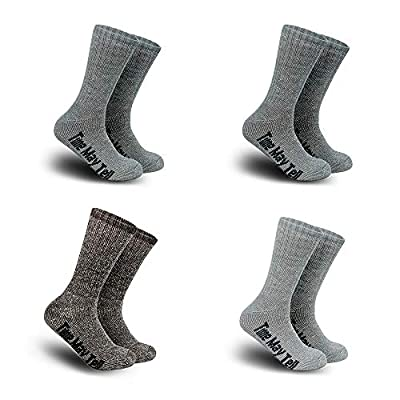 Time May Tell Mens Merino Wool Hiking Cushion Socks Pack(2Dark Grey,Light Grey,Brown(4 pairs), US Size 9.5~13)