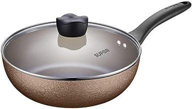 PFJJ Wok, Colorful Non-stick Frying Pan, Gas Cooker Universal, Diameter 28cm (Color : Gold, Size : 28cm)