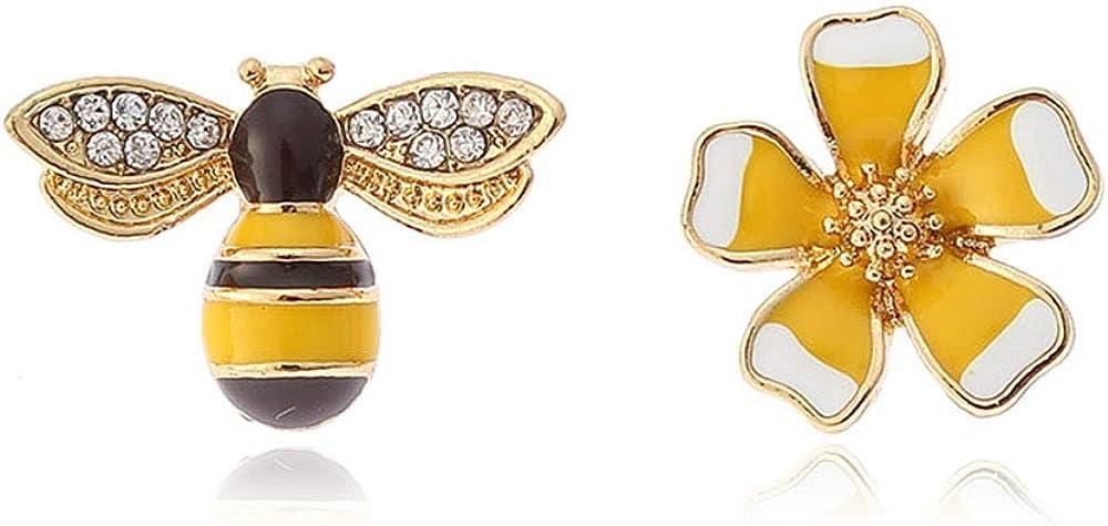 GRACE JUN Rhinestone Enamel Flower Bee Clip on Earrings and S925 Stud Earrings Best Jewelry