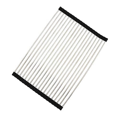 LEHINKHA Escurreplatos enrollables para cocina, plegable resistente al calor con revestimiento de silicona (50 x 34 cm)