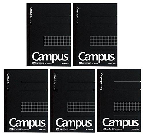 Kokuyo Campus - Cuaderno de notas (semi A5, cuadrícula de 5 mm, 80 hojas, 160 páginas), color negro