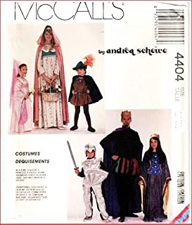 McCall's 4404 Child's Costume Sewing Pattern, Medieval Princess, Queen, Fair Maiden, King, Knight and Robin Hood Vintage 1989