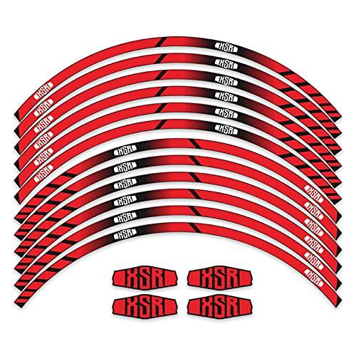 12 Strips Pegatinas Motocicleta Pegatina Reflectante Etiqueta de neumáticos Moda Calcomanía de Membrana de la Membrana Super MUROS para Yamaha XSR 900 700 (Color : 4)