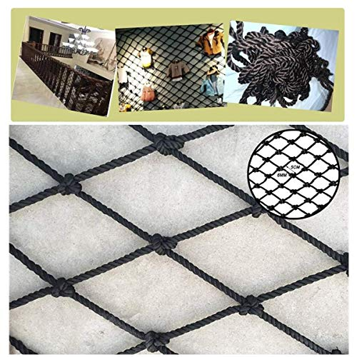 Zwart veiligheidskoordnet, Balkontrap anti-valnetten, Barrier netwerk, Tuinheknet, Decoratieve netten, Multifunctioneel geweven gaas, Diameter 6 mm (Size : 1 * 7m(3 * 22ft))